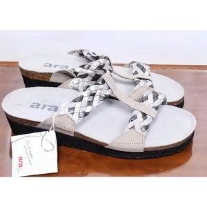 Ara Womens Braided Tan Silver Leather Sandals NWT